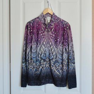 Chico's Zenergy Sparkly Ombre Zip Up Sweater NWT